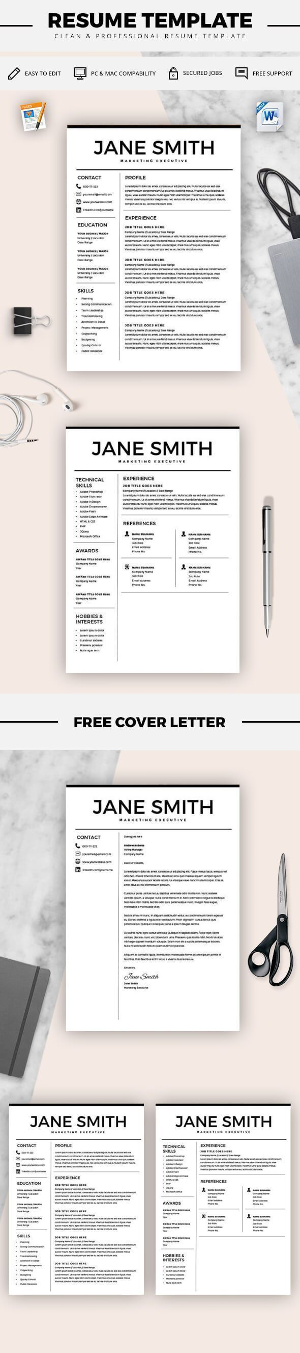 Resume for Microsoft Word - Minimal Resume Template - CV Template + Cover Letter for MS Word - Best Resume Templates - Instant Download