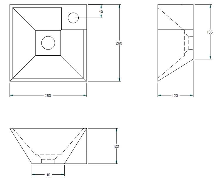 pyramidevormig fonteintje, past ook in klein toilet. Wit voorraad, zwart en kleuren te bestellen 4-6 weken levertijd