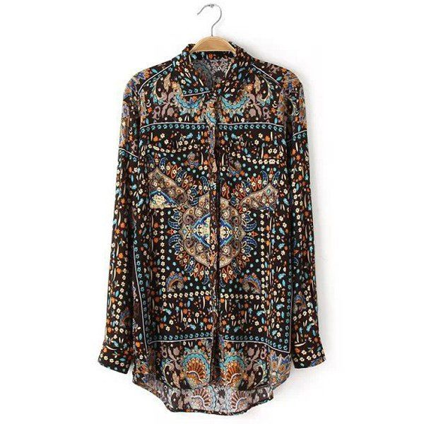 Retro Style Polo Collar Sunflower and Totem Print Long Sleeve Blouse For Women, AS THE PICTURE, L in Blouses | DressLily.com