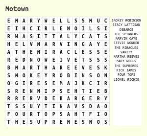 Word Search on Motown