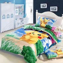 3D Pikachu Kids baby bedding set cartoon twin size children duvet cover bedspread bed in a bag sheet bedroom bedsheet quilt