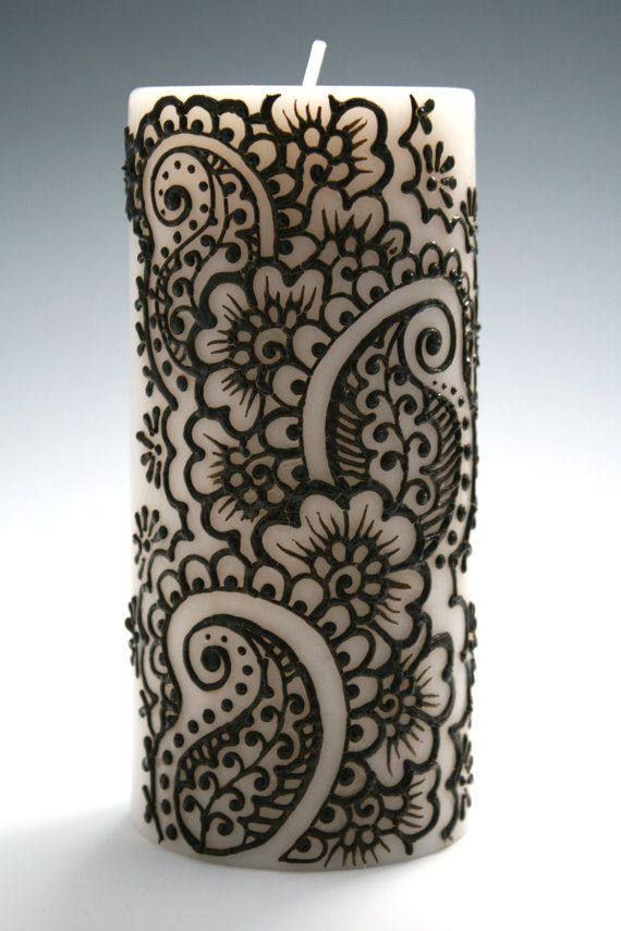 Henna Candle with Intricate Indian Style Design, Paisley and Flowers, White Pillar Candle with Fresh LInen Scent