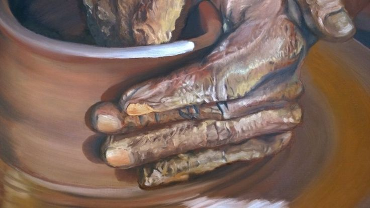 'Hands of the wisdom', oil on canvas, close-up details (artwork)