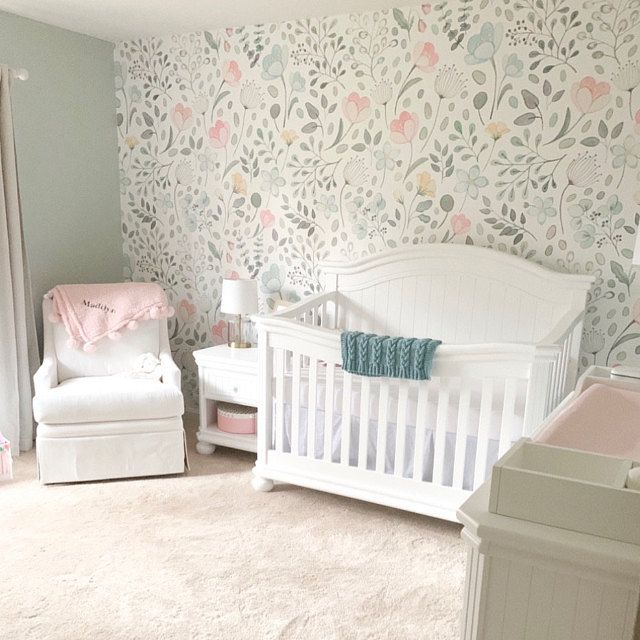 Soft Pink Pastel Floral Wallpaper Mural Traditional Or Removable Vinyl Free Non Toxic Traditional Wallpaper Nursery Wallpaper Pink Walls