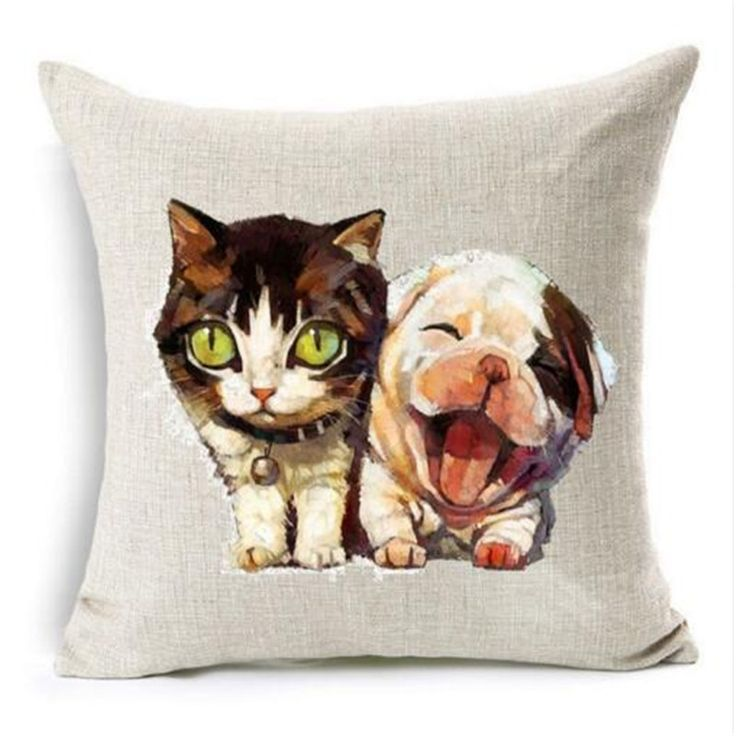 Linen Cushion Cover 45x45cm Cute Animal Cat Dog Panda 7 Style Decorative Pillows Home Sofa Pillow Cover almofada