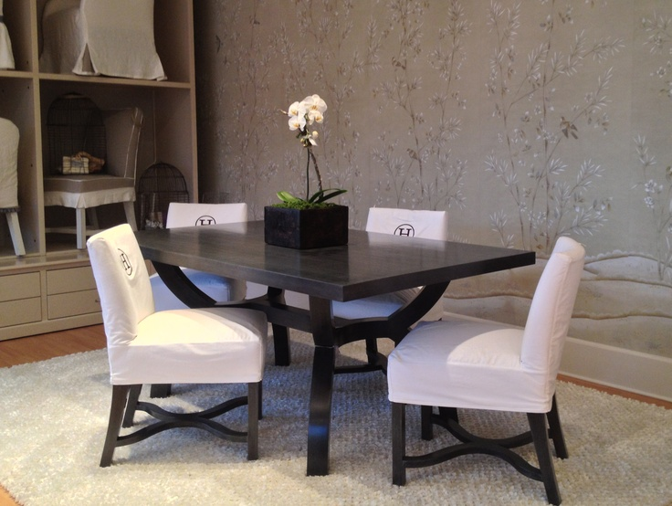 Quatrine dallas ellington dining table with low back dining chairs inside our showrooms Dining room furniture dallas