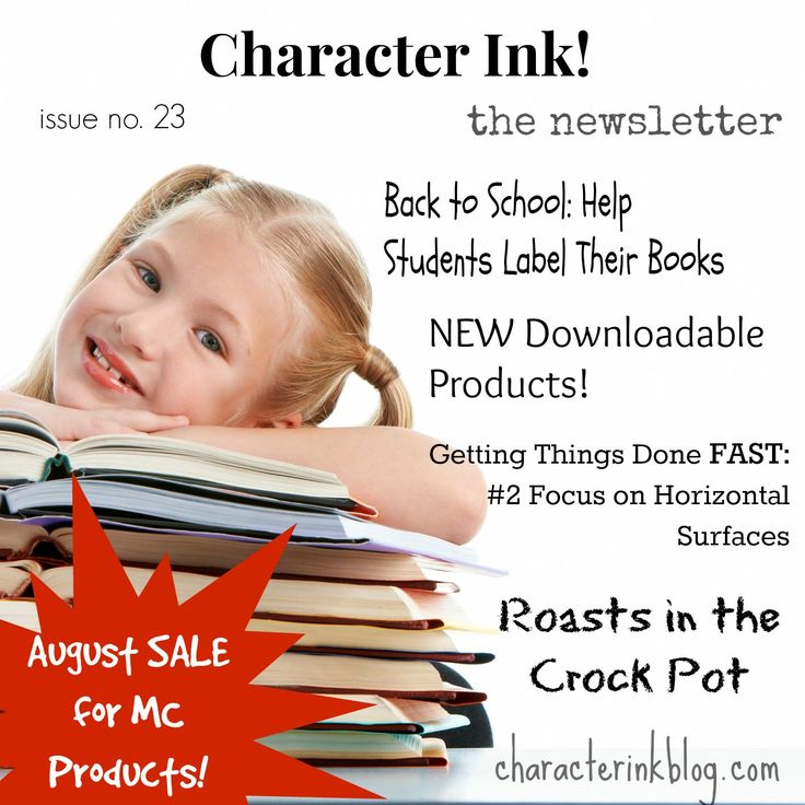 Character Ink Newsletter #backtoschool #books #downloadable #products #roasts #crockpot