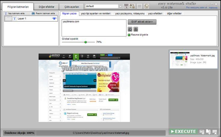 TSR Watermark Image, fotoğraflarınıza kolayca fligran yazılar  ekleyebileceğiniz ücretsiz bir yazılımdır.