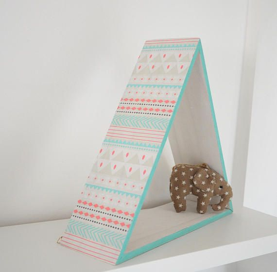 Small wooden triangle shelf / Pine triangle shadowbox /
