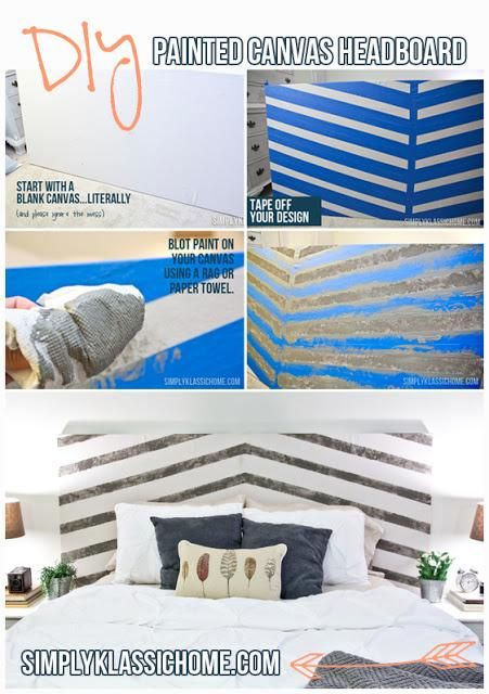 cool technique! DIY Painted Canvas Headboard DIY Furniture DIY Headboard