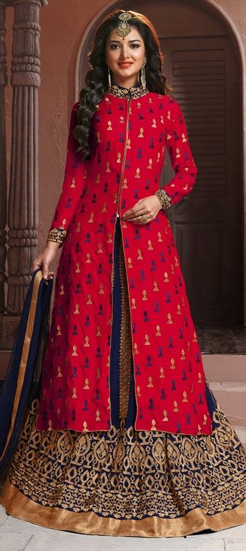 728558 Blue,Pink and Majenta  color family Long Lehenga Choli in Georgette fabric with Lace,Machine Embroidery,Resham,Thread work .