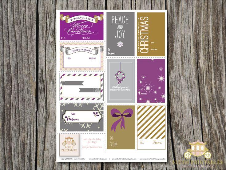 FREE Pretty Printable Gift tags! I love the gold and purple...Holiday Gift Tags, Tags Printables, Gold Purple'S Gift Tags Jpg, Printables Tags, Printables Gift, Holiday Tags, Holiday Gifts, Free Printables, Christmas Gift Tags