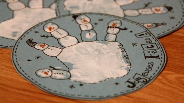Gift Tags using Scarlett's hand into snowmen!!! LOVE!