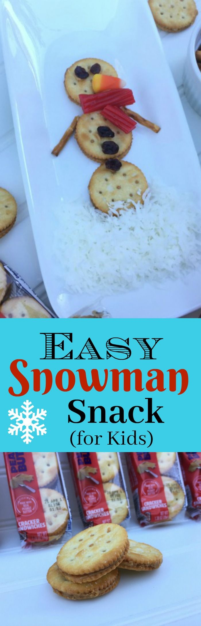 Easy Snowman Snack for Kids for Christmas or winter-time fun. AD #Christmas #Snacks #Kids #FoodFun