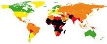 Carte du respect des droits de l'enfant dans le monde