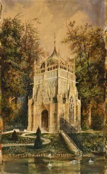 Artwork by Rudolf von Alt, The Andrássy Mausoleum in Trebisov, Made of Watercolour on paper