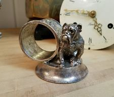 Victorian Silver Plated Napkin Ring Figural Canine English BULLDOG Place Setting