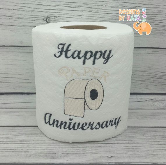 Happy Paper Anniversary Embroidered Novelty Toilet Paper First 1st Anniversary Funny Joke In 2020 Embroidered Toilet Paper Paper Gifts Anniversary Paper Anniversary