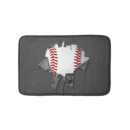 Torn Baseball Bathroom Mat   Home Gifts Ideas Decor Special Unique Custom  Individual Customized Individualized