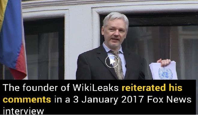 An interview took place on 3rd January 2017 between the founder of WikiLeaks Julian Assange and Fox News host Sean Hannity. Assange again denied that leaked e-mails of DNC published in 2016 by his website.