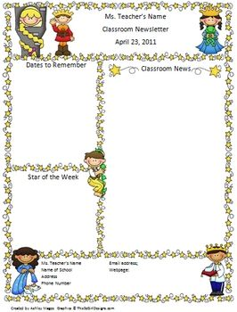 This is a two page Fairy Tale themed template for a classroom newsletter. The file is to be opened in Microsoft Word. Click inside the text boxes t...