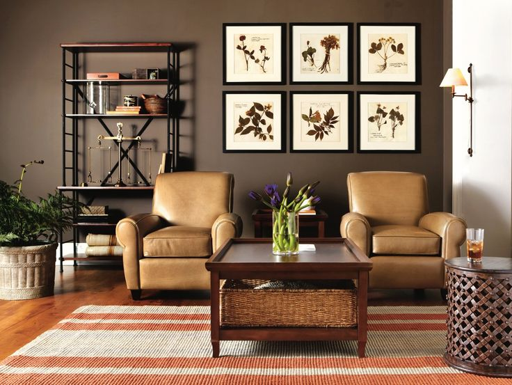 Brown Masculine Living Room With Leather Accents