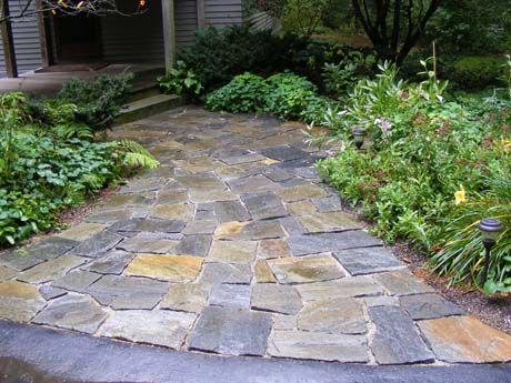 Walkway To Patio From Front Door. American Granite Mosaic Flagging. # Walkways #patio