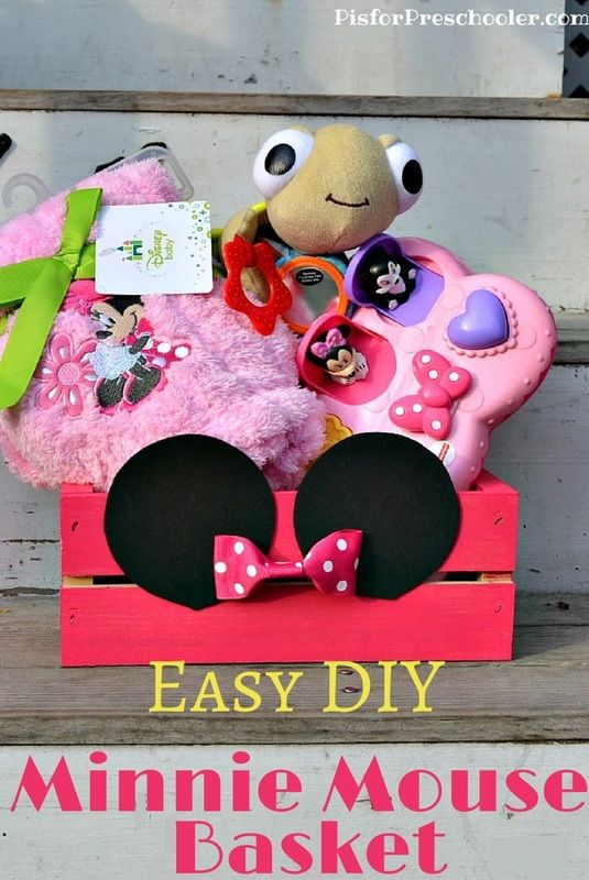 An Easy Diy Minnie Mouse Gift Basket Perfect For Babies