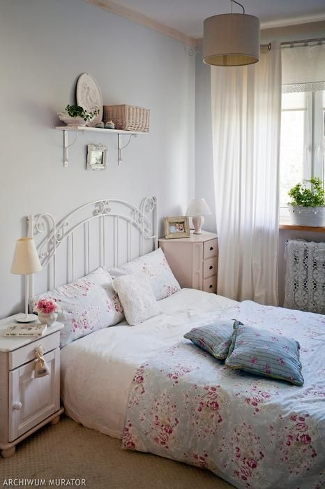 aranżacje sypialni-pastelowy kolor
