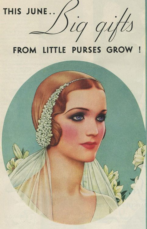 The cover of June Bride from 1932 WANT!!!!! This would be lover-ly with a side part