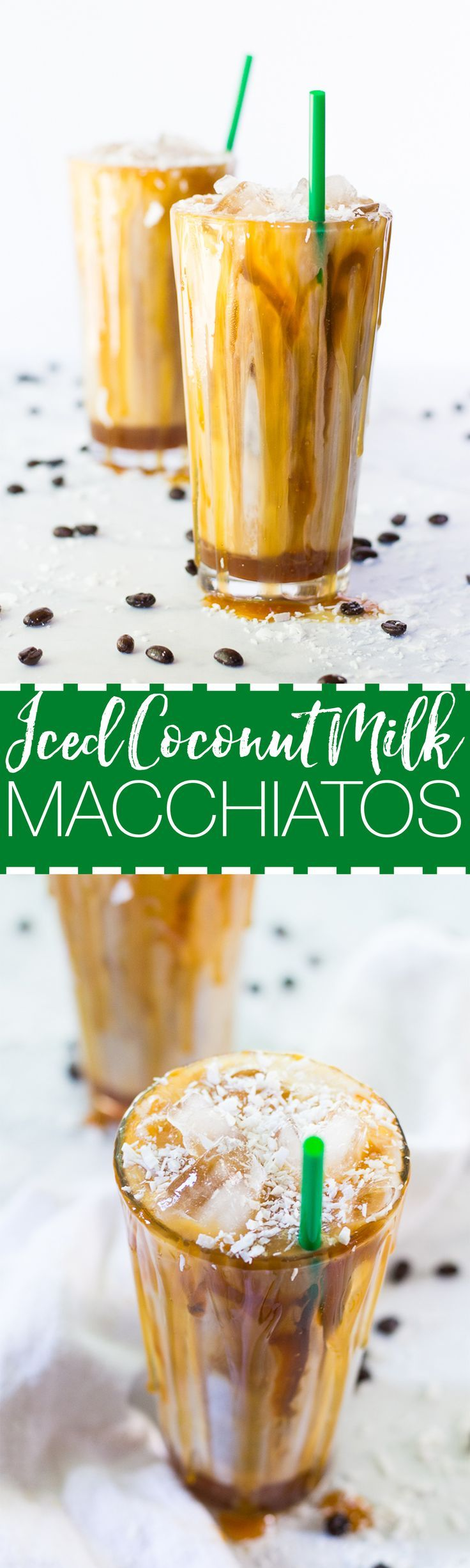 These Salted Iced Coconut Milk Caramel Macchiatos are a delicious dairy-free version of your new favourite Starbucks-inspired iced coffee recipe!