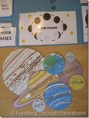 Nice Planet printables here: http://www.1plus1plus1equals1.com/Solar_System_Learning_Pack.pdf