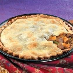 Convenient cooked beef and vegetables bound with a creamy mushroom gravy are tucked into a flaky pie crust.