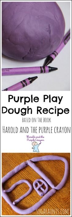 Harold and the Purple Crayon activity with purple play dough- make play dough using real crayons for a silky smooth texture and a bright, bold color. [Sugar Aunts]