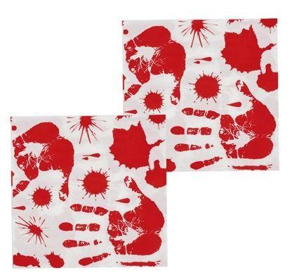 12 servetjes bedrukt met een bebloede handafdruk. Deze stoere servetjes zijn 33cm x 33cm en passen natuurlijk perfect bij een leuk halloween of griezel feestje!