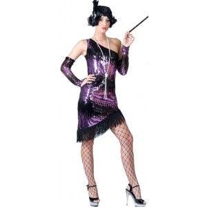 Déguisement charleston Lindy femme, Déguisement charleston robe mauve et noir à paillettes sequin chic, années 20-30, fêtes.