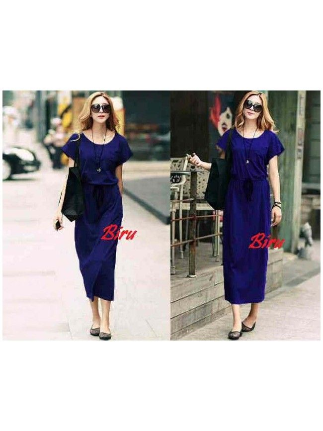 Blue Maxi Dress LD172-LOCAL Model  037 Condition  New   Long dress material spandex rayon adem all size fit max L IDR88,000IDR70,000IDR56,000