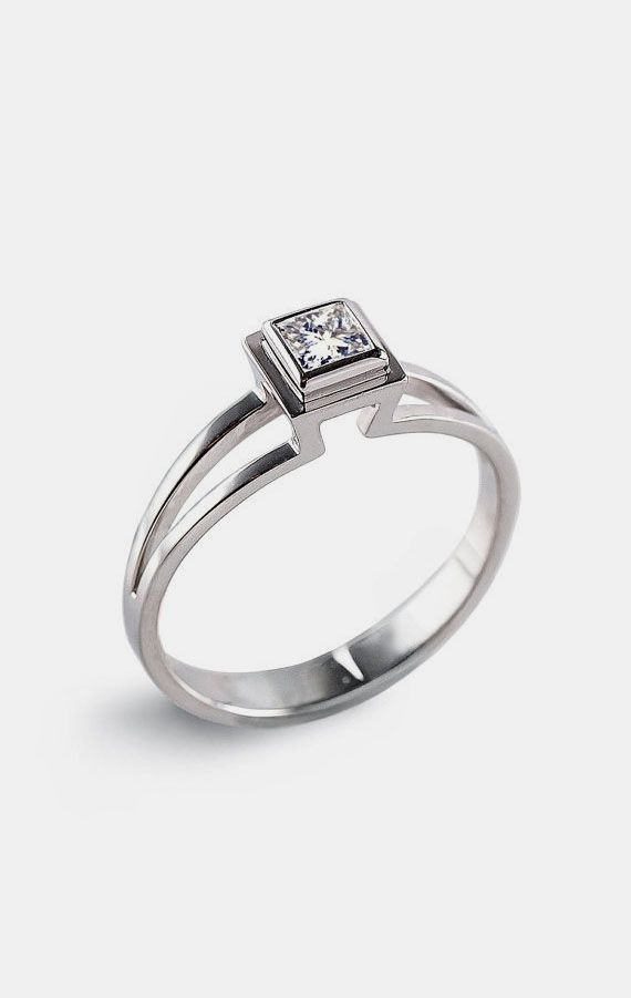 PRINCESS Engagement Ring Solitaire Diamond. Love this super unique design.