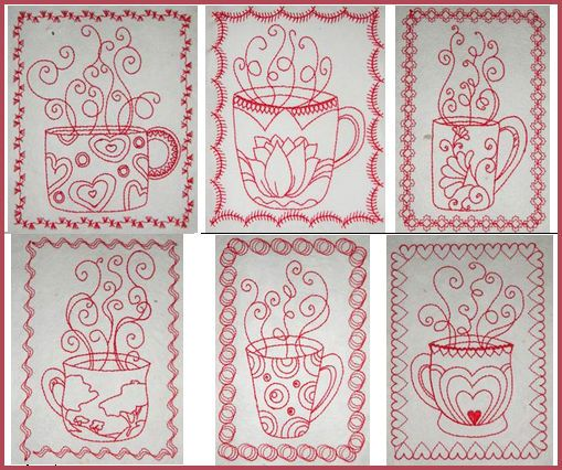 """Redwork Teacups Framed"" Here's a fun and quick to stitch #machineredwork set you'll love stitching out. Perfect for creating throws or quilts that you can cuddle up in, with a hot cup of tea, coffee or cocoa. Or stitch to dish towels, pot holders or stitch and frame. Come get yours! One lump...or two?"