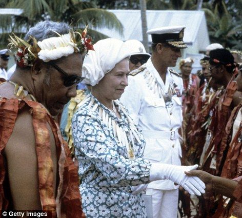 Queen Elizabeth ll and Prince Philip, Duke of Edinburgh meet local dignitaries when they arrive in Tuvalu during their tour of the South PacificQueen Elizabeth, Edinburgh Meeting, Australian British Royal, Meeting Local, B British Royalty, Prince Philip, Local Dignitari, Hm Queens, Queens Elizabeth