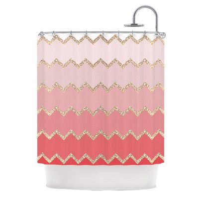 East Urban Home Avalon Ombre Shower Curtain Color Coral