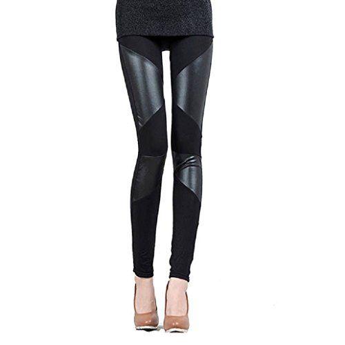 Tonsee® Sexy en cuir femmes couture extensible Faux skinny noir Leggings Pantalons (XXL)