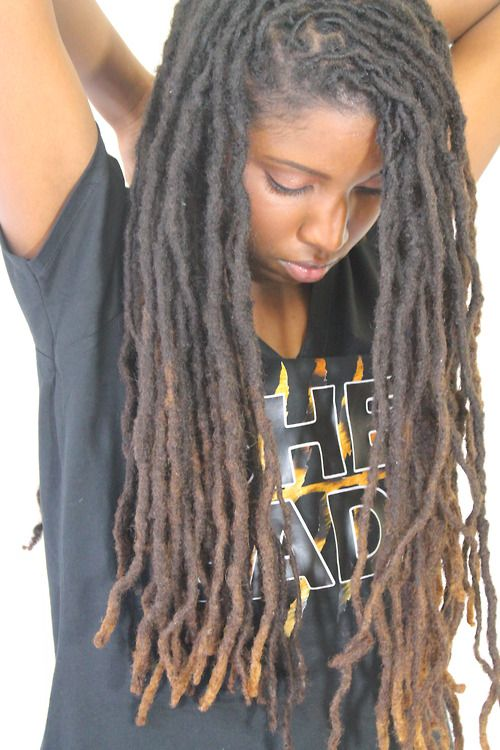 Beautiful three toned locs with medium thickness. I have the thickness, almost the length, but do I want color?