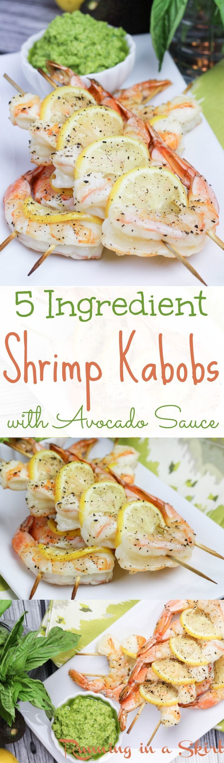 5 Ingredient Grilled Shrimp Kabobs with Avocado Dipping Sauce recipes.  An easy, healthy and fun dinner made on the grill. Simple seasoning and dipped avocado sauces. The best grililng ideas - includes instructions on how to create the lemon fans. / Running in a Skirt