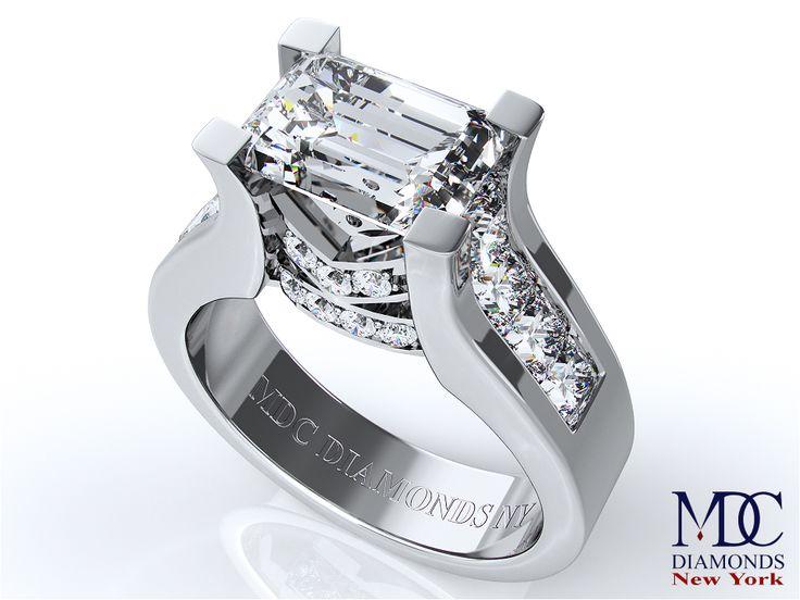 #co.uk ring Engagement Ring Modern Horizontal Emerald diamond Engagement ring White Gold
