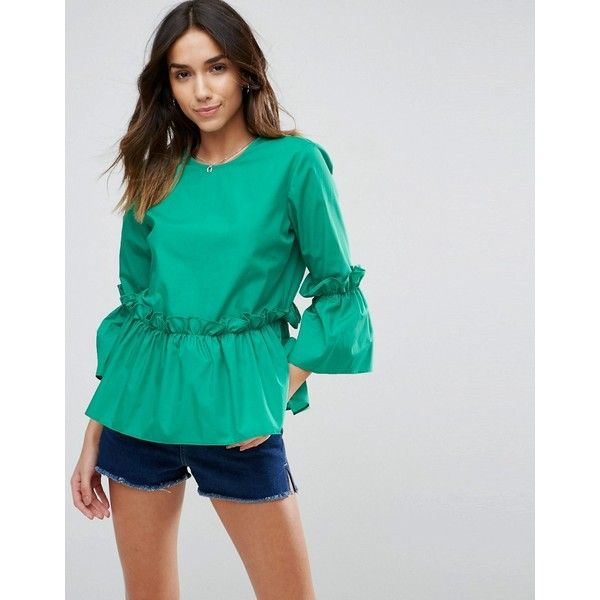 ASOS Cotton Ruffle Smock Top ($52) ❤ liked on Polyvore featuring tops, green, night out tops, frill top, green top, frilly tops and green ruffle top