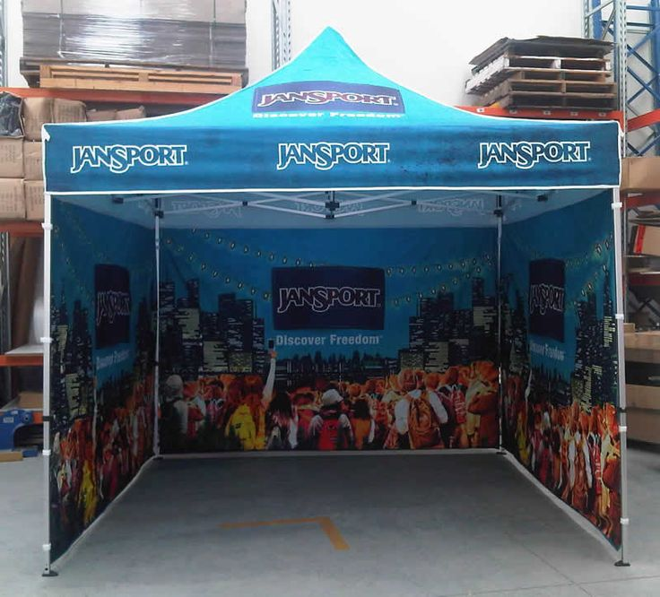 Custom printed pop up marquee tent with side and back walls.