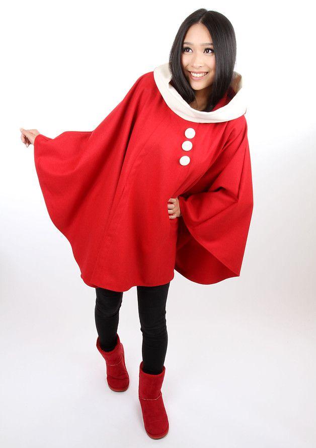 "Capes & Ponchos - MEKO ""Lory"" Cape Poncho Jacke Kapuze Rot - ein Designerstück von meko bei DaWanda"