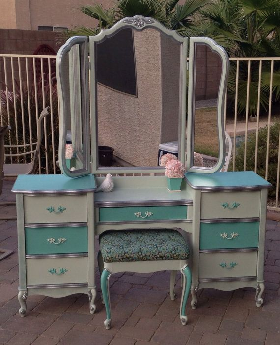 Large Vintage Vanity With Trifold Mirror And By