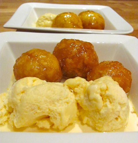 Easiest dessert recipe in the world!! Golden Syrup Dumplings with icecream